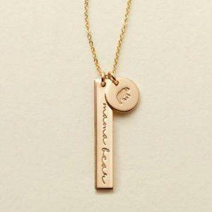 NEW Mama Bear Gold Coin Disc Charm Bar Necklace